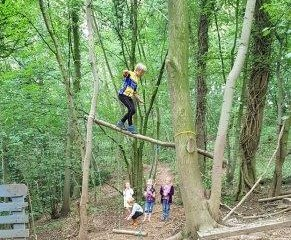 Forest School activity walking across a balance beam