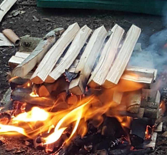Cabin camp fire bushcraft   Rewilding Adventures