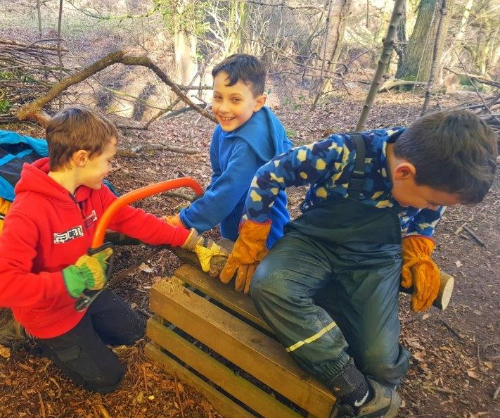 Forest School wood chopping