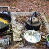 Fire site cooking tempura wild garlic
