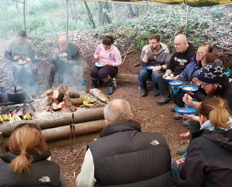 Sweet potato dahl eating campfire team group corporate development bushcraft