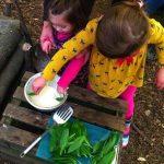 Dipping wild garlic in batter