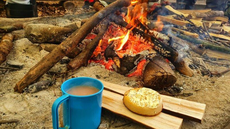 Bushcraft Rewilding Campfire Crumpets Tea