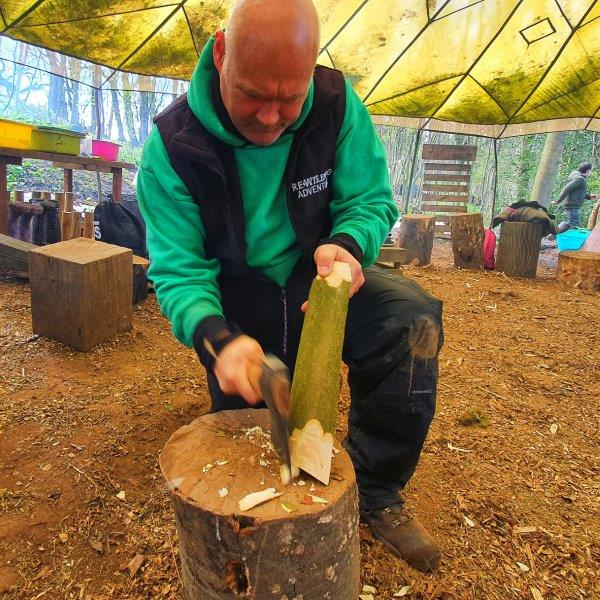 Forest School Leader Axe Wood Chopping